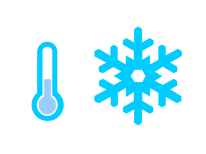 Air conditioner replacement - thermometer icon with snowflake